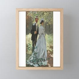 French Impressionist Portrait of Lovers on a Walk by Claude Monet Framed Mini Art Print
