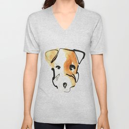 Black Ink and Watercolor Jack Russell Terrier Dog Unisex V-Neck