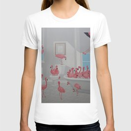 Flamingos In the Bathroom T-shirt