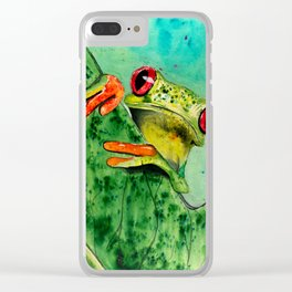 Watercolor Tree Frog Clear iPhone Case