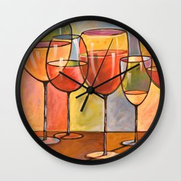 Whites and Reds ... abstract wine glass art, kitchen bar prints Wall Clock