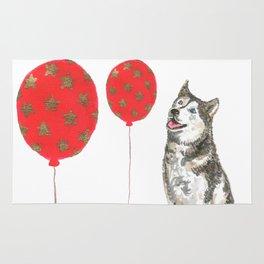Husky With Balloon Rug