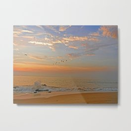 Sunrise at the ocean with jetty and birds - minimalist landscape photography Metal Print