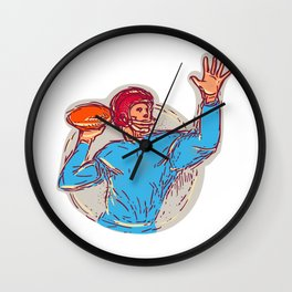 American Football Quarterback Throwing Ball Drawing Wall Clock