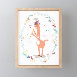 Llama Playing a Tune Framed Mini Art Print