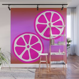 Tropical exotic bright pink grapefruit citrus slices summer fruity colorful whimsical cute retro design. Wall Mural