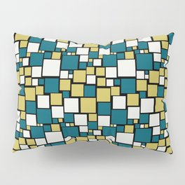 Off White, Dark Yellow and Tropical Dark Teal Inspired by Sherwin Williams 2020 Trending Color Oceanside SW6496 Funky Mosaic Pattern on Black Pillow Sham