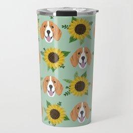 Beagles pattern floral sunflowers dog breed beagle art pet portrait pet friendly dog art Travel Mug