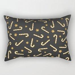 Golden Candycane Dark Rectangular Pillow