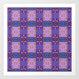 Kids Purple Patchwork Patterns Art Print