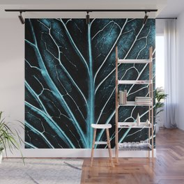 Real turquoise leaf details Wall Mural