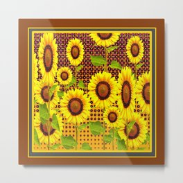 COFFEE BROWN SUNFLOWERS CABIN ART Metal Print