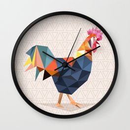 Polygonal Rooster Wall Clock