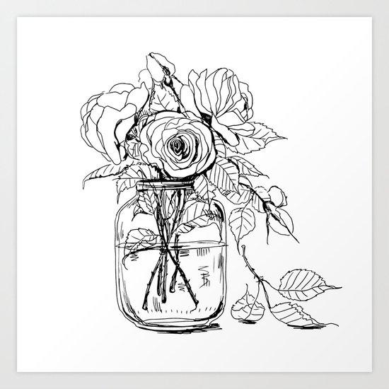 Rose flowers bouquet in a jar Art Print