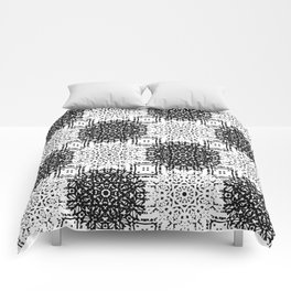 Black and White Gothic Lacy Mandala and Checker Tile Comforters