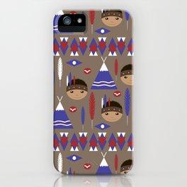 Seamless kids cute American indian native retro background pattern iPhone Case