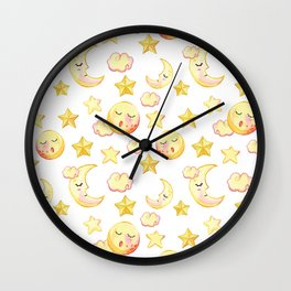Yellow pink  watercolor dreamy stars moon sun pattern Wall Clock