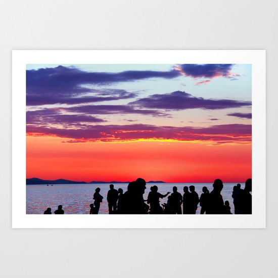 Silhouettes in the sunset Art Print
