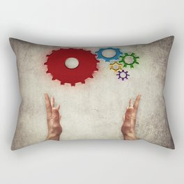 hand holding cogs Rectangular Pillow