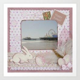 Happy Easter Santa Monica Pier Greeting Art Print