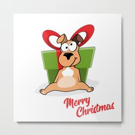 Vector cartoon portrait of funny smiling dog in santa hat with big gift box and hearts isolated on w Metal Print
