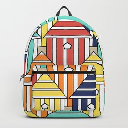 illustration beach cabins, graphic, design and colorful composition Backpack