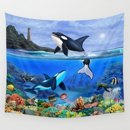 THE ORCA FAMILY Wall Tapestry