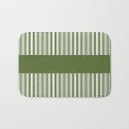 Olive Green & White Stripes Bath Mat