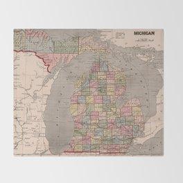 Vintage Map of Michigan (1844) Throw Blanket