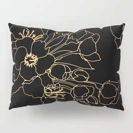 Bouquet in Rose & Gold on Black Pillow Sham