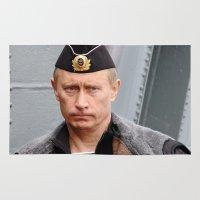 putin Area & Throw Rugs featuring Putin seaman. by Mikhail Zhirnov