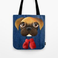 boxer Tote Bags featuring Boxer by Sloe Illustrations
