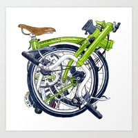 brompton Art Prints featuring Brompton Folded green painting by Diana Powell