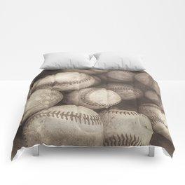 Bucket of Old Baseballs in Sepia Comforters