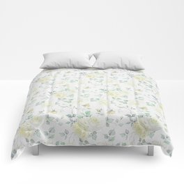 Bohemian baby yellow green vintage roses floral Comforters