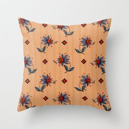 Red blue green flowers on orange background - old vintage pattern Throw Pillow