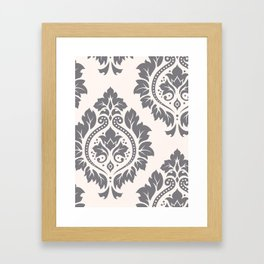 Decorative Damask Art I Grey on Cream Framed Art Print