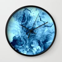 roses Wall Clocks featuring roses underwater by clemm