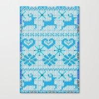 scandinavian Canvas Prints featuring Scandinavian Knitting by Vannina