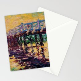 'Bridge by the Sea' coastal landscape painting by Emil Nolde Stationery Cards