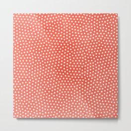 Living Coral Dots Pattern Metal Print