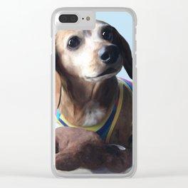 Molly Dolly Dachshund - Blue Clear iPhone Case