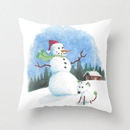 Snowman, Snowdog Throw Pillow