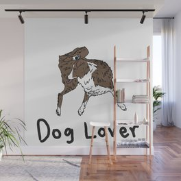 Dog Lover (Brown & White Australian Shepherd) with words Wall Mural