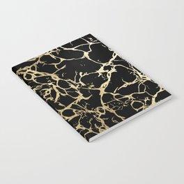 Stylish black faux gold foil elegant marble Notebook