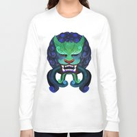 foo fighters Long Sleeve T-shirts featuring Foo dog by kitsunebis