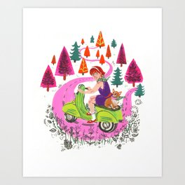 Vespa Girl Art Print