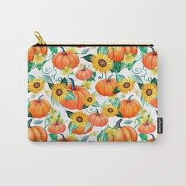 Pumpkins and Sunflowers with moths, watercolor botanical Carry-All Pouch