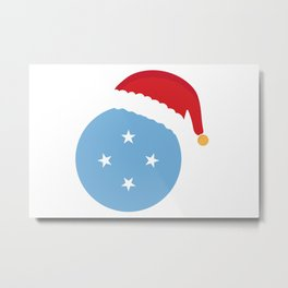 Micronesia Christmas sant claus flag designs  Metal Print