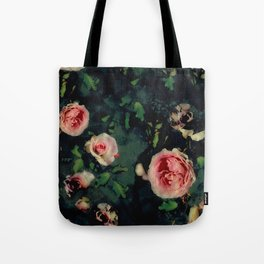 Big Pink Roses and Green Leaves Graphic Tote Bag
